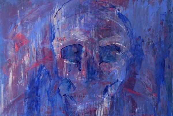 Christine Koellhofer_new blue skull_80x100cm_2014_acrylics on canvas_framed 600px